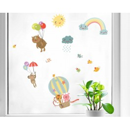 Rainbow Animals διπλής όψης αυτοκόλλητα για τζάμι ή τοίχο L Διπλής όψης παραθύρου - τοίχου