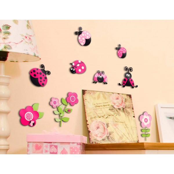 Pink Ladybugs αυτοκόλλητα 3 επιπέδων M Τριών επιπέδων πολυπροπυλενίου