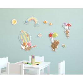 Happy Animals αφρώδη αυτοκόλλητα τοίχου L Αφρώδη Large