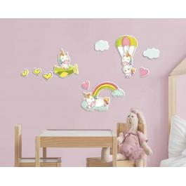Fantasy Unicorns αφρώδη αυτοκόλλητα τοίχου L Αφρώδη Large