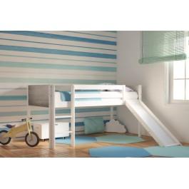Κρεβάτι Υπερυψωμένο Dream Λευκό Οξιά Mε Τσουλήθρα Εφηβικό Δωμάτιο