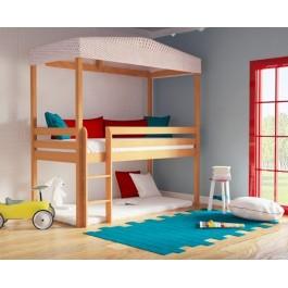 Κρεβάτι Υπερυψωμένο Cloud  Φυσικό οξιά Εφηβικό Δωμάτιο