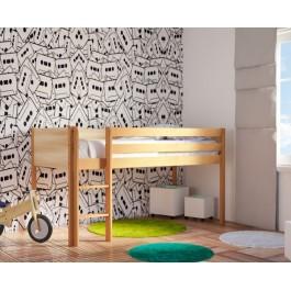 Κρεβάτι υπερυψωμένο Dream Φυσικό Οξιά Εφηβικό Δωμάτιο