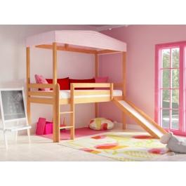 Υπερυψωμένο κρεβάτι CLOUD Φυσικό Οξιά  με τσουλήθρα  Εφηβικό Δωμάτιο
