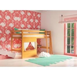 Υπερυψωμένο  κρεβάτι COUNTRY φυσικό οξιά  Εφηβικό Δωμάτιο