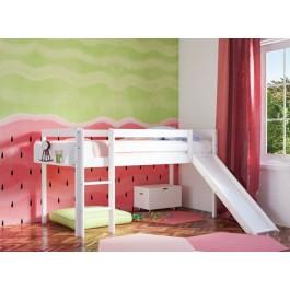 Υπερυψωμένο Κρεβάτι ECO Με Τσουλήθρα  Λευκό Οξιά Εφηβικό Δωμάτιο
