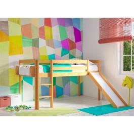 Υπερυψωμένο Κρεβάτι ECO Με Τσουλήθρα  Φυσικό Οξιά Εφηβικό Δωμάτιο
