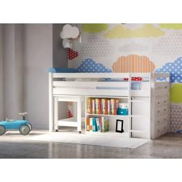 Υπερυψωμένο παιδικό κρεβάτι PRIME PLUS λευκό οξιά Εφηβικό Δωμάτιο