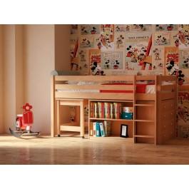 Υπερυψωμένο παιδικό κρεβάτι PRIME PLUS φυσικό οξιά Εφηβικό Δωμάτιο
