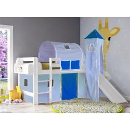 Υπερυψωμένο κρεβάτι SMART  Με τσουλήθρα  Λευκό Οξιά Εφηβικό Δωμάτιο