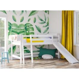 Υπερυψωμένο κρεβάτι SMART PLUS με τσουλήθρα  λευκό οξιά  Εφηβικό Δωμάτιο