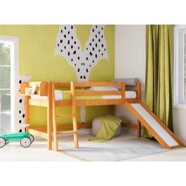 Υπερυψωμένο Κρεβάτι SMART PLUS Με Τσουλήθρα  Φυσικό Οξιά Εφηβικό Δωμάτιο