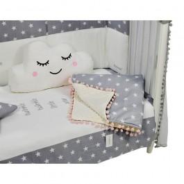 Κουβέρτα fleece με pom-pom Stars