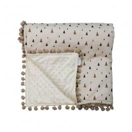 Κουβέρτα fleece με pom-pom Fox