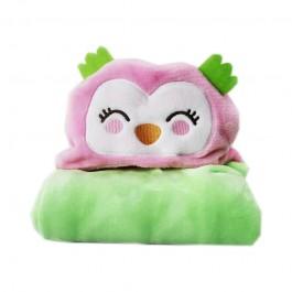 Κουβέρτα fleece με κουκούλα κουκουβάγια ροζ 110x85
