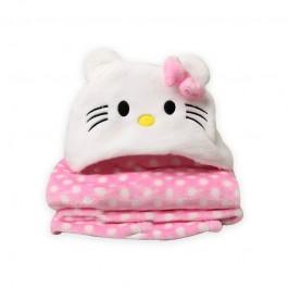 Κουβέρτα fleece με κουκούλα kitty ροζ 110x85