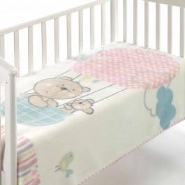 Κουβέρτα βελουτέ κούνιας kidz C75 ροζ  morven 8424488848701