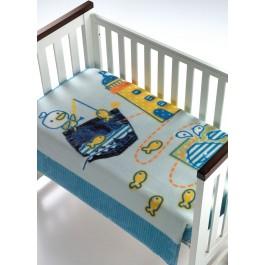 Κουβέρτα βελουτέ κούνιας magic baby 055 σιέλ morven 8424488775922