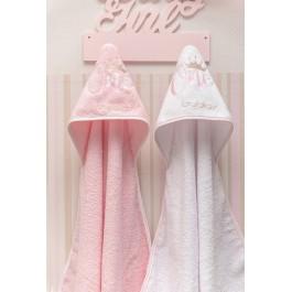 Μπουρνούζι Τρίγωνο One Pink Λευκά είδη/Προίκα