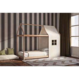 Παιδικό κρεβάτι μοντεσσόρι House Frame από μασίφ ξύλο οξιάς σε φυσικό χρώμα