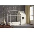 Παιδικό κρεβάτι μοντεσσόρι House Frame από μασίφ ξύλο οξιάς σε λευκό χρώμα
