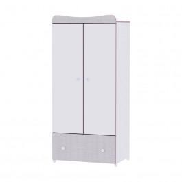 Ντουλάπα Δίφυλλη Exclusive White Pink Crossline Lorelli Βρεφικό Δωμάτιο